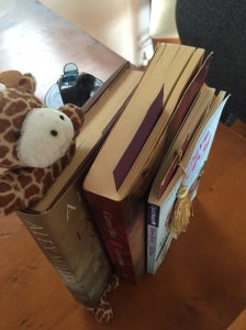complete with bookmarks left where I gave up. How cute is the giraffe bookmark??